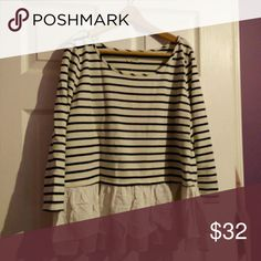 Anthropologie white + navy striped top w/ruffles Comfortable knit striped top, 3/4 length sleeves, sheer ruffled and tiered waist with polka dots Anthropologie Tops Tees - Long Sleeve