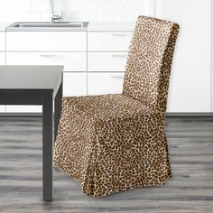 Leopard Print IKEA Henriksdal Dining Chair Cover   affordable, designer, custom, handmade, trendy, fashionable, locally made, high quality Ikea Dining Chair, Dining Chair Covers, Brown Leopard, Slipcovers, Floor Chair, Accent Chairs, Cushions, Handmade, Furniture