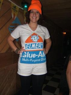 Homemade DIY Elmer's Glue Bottle Halloween Costume. Use a plain white t-shirt, an orange cap, and some printer transfer paper to make these easy and lovable Halloween costume.