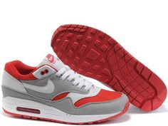 Fake Mens Nike Air Max 1 Sport Red Medium Grey White Shoes  $42.98