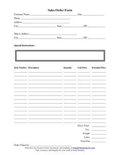 simple work order form
