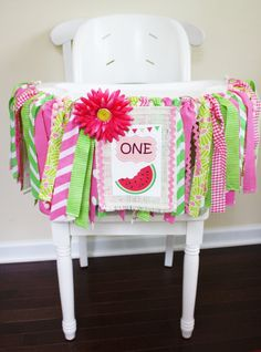 Watermelon Highchair Banner, Watermelon Party, 1st Birthday Girl, 1st Birthday Banner, Cake Smash banner, Photo Prop, Summer Party