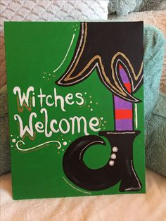 Witches welcome! Acrylic Halloween decoration canvas painting