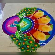 Rangoli Designs Peacock, Easy Rangoli Designs Diwali, Indian Rangoli Designs, Rangoli Designs Latest, Simple Rangoli Designs Images, Free Hand Rangoli Design, Rangoli Patterns, Small Rangoli Design, Rangoli Border Designs