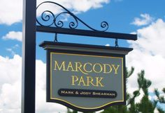 Marcody Park Property Sign - carved & gilded text. See more of our handcrafted signs on www.danthoniadesigns.com
