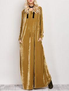 Velvet Long Sleeve Maxi Dress - EARTHY L