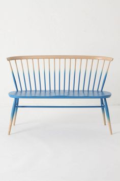 """Windsor Love Seat"" blue-ombre lacquered bench - designed by Ercol in inspired by the traditional silhouette of the Windsor chair Diy Ombre, Ombre Paint, Blue Ombre, Navy Blue, Painted Furniture, Home Furniture, Furniture Design, Outdoor Furniture, Dipped Furniture"