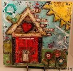 Dedicated to Christy Tomlinson, Ronda Palazzari, Tim Holtz and Stéphanie Ackerman for their insipiration on creating this canvas.