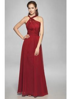 Creative A-line Sleeveless Chiffon Ankle-length Halter Evening Dresses - Wedding Dresses