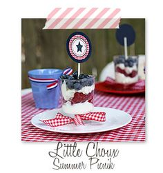 Red Gingham Picnic, July 4th, Memorial Day, Patriotic, Summer, Red White Blue