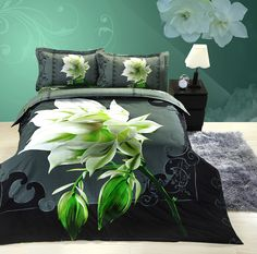 fashion elegant mystery black duvet cover sets white flower of queen size home textiles pillowcase bed quilt bedclothes cover
