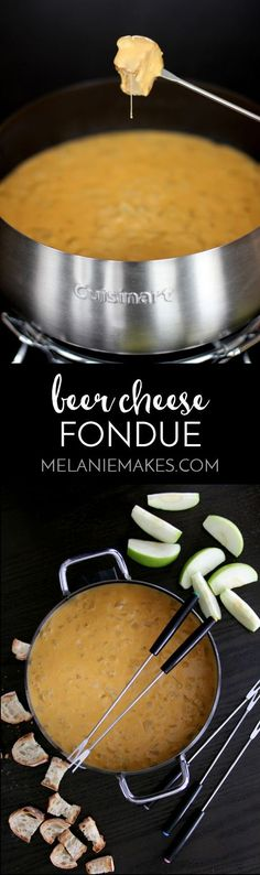 This Beer Cheese Fondue makes for a perfect game day appetizer. Your favorite beer, cheddar cheese and onion come together in this perfect, melty dipping sauce.