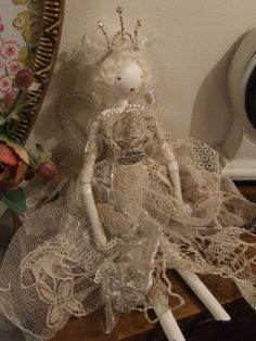 Shabby chic doll Christmas fairy vintage fabric lace glass bead tree topper | eBay
