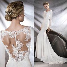 Pronovias illusion back. #weddingdress #pronovias #sleevedweddingdress #bridal #bride #wedding #laceweddingdress