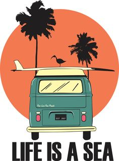 The teal color of the van is being emphasized and the orange background is being subordinate. Beach House Style, Poster Photo, Surf Art, Vintage Travel Posters, Vw Bus, Cute Wallpapers, Aesthetic Wallpapers, Pop Art, Illustration Art