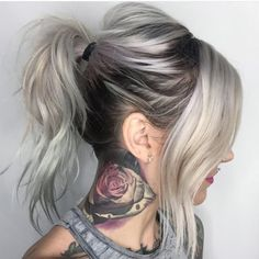 Our feature page celebrates edgy, beautiful hair, makeup and nail art. Messy Ponytail, Ombre Hair Color, Silver Hair, Long Hair Styles, Ideas, Beauty, Fashion, The Incredibles, Roots