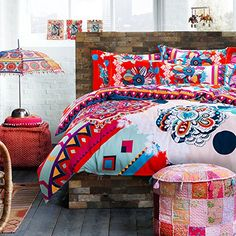 TheFit Paisley Textile Bedding for Adult Exotic Colorful Blue Red Boho Bohemian Duvet Cover Set Sanded Cotton, Queen King Set, 4 Pieces (King) Luxury Bed Sheets, Duvet Cover Sets, Comforters, Paisley, Exotic, Textiles, Blanket, Interior Design, Cotton