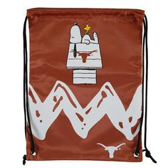 Add a classic kick to your next trip with this Texas Longhorns Peanuts Zigzag drawstring backpack. Hook Em Horns, Texas Longhorns, Fan Gear, Zig Zag, Drawstring Backpack, Diaper Bag, Peanuts, Unisex, My Style