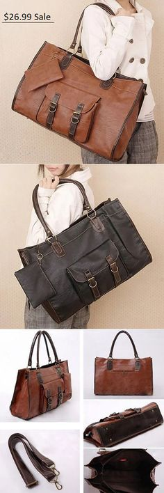 $26.99 USD Sale! Free Shipping! Shop Now! Vintage Women PU Leather Large Bags Shoulder Handbag Travel Tote Purse Book Bags Tote Purse, Tote Handbags, Laptop Bag For Women, Book Bags, Travel Tote, Large Bags, Shoulder Handbags, Things To Buy, Pu Leather