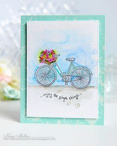 My Joyful Moments: Flower Delivery With Pink Ink Stamps  (bicycle card)