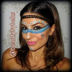 Tribal makeup. Pocahontas. Halloween makeup.