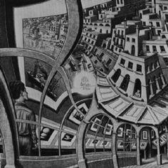 'halle stadt', Lithografie von Maurits Cornelis Escher (1898-1972, Netherlands)