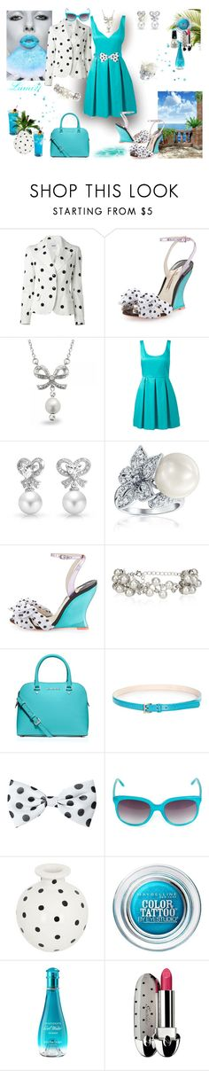 """""""blue summer"""" by lumi-21 ❤ liked on Polyvore featuring Moschino Cheap & Chic, Sophia Webster, Allurez, Forever New, Bling Jewelry, Monsoon, MICHAEL Michael Kors, MANI, Maybelline and Davidoff"""
