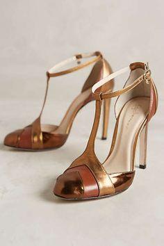 Guilhermina Mari T-Strap Heels I love that gorgeous metallic mix.