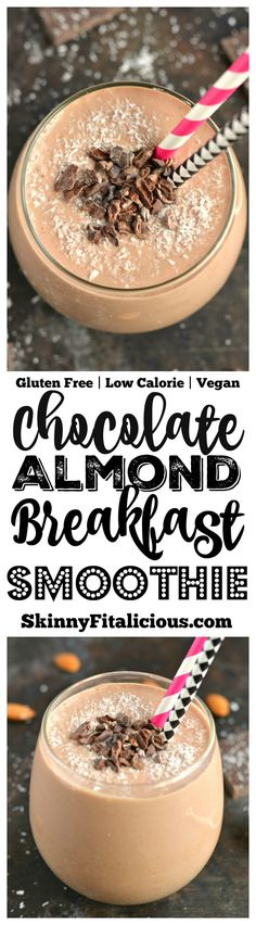 Start your day with a thick and creamy Chocolate Almond Smoothie more like desire than breakfast. This gluten free, low calorie smoothie (with Vegan option) is what dreams are made of!