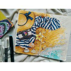 Art Sketches Ideas - Тот момент, когда куча дел, а ты такой. Travel Sketchbook, Art Sketchbook, Bff Drawings, Sketch Markers, Marker Art, Art Inspo, Art Sketches, Watercolor Art, Chibi