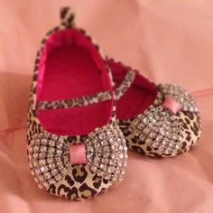 Leopard rhinestone Mary Janes. Baby girl shoes. Newborn Mary Janes. Baby girl soft sole slippers. Baby bling shoes on Etsy, $20.00