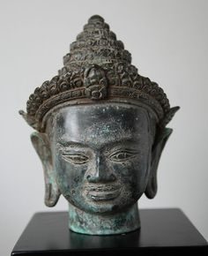Currently at the #Catawiki auctions: Bronze Vishnu head -  Asia - 2nd half of 20th century