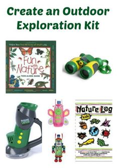 Create an Outdoor Exploration Kit -- perfect for camping, hiking and exploring with kids! Outdoor Water Activities, Nature Activities, Outdoor Learning, Kids Learning Activities, Preschool Science, Stem Activities, Summer Activities, Outdoor Play, Outdoor Life