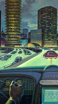 Strange vision of the future. Looks slmost normal- until you realize the freeway is luminous, and the cars are centered over the guidelines. Futuristic City, Futuristic Architecture, Affiche Star Trek, Retro Futurism Art, Arte Sci Fi, 70s Sci Fi Art, World Of Tomorrow, Arte Cyberpunk, Science Fiction Art