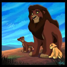 Here is a commision for of her character sihle walking with simba and kovu. Sihle, Kovu and Simba The Lion King 1994, Lion King Fan Art, Lion King 2, King Simba, Lion King Movie, Disney Lion King, Lion Art, Lion King Pictures, Lion Pride