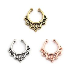 Vcmart Fake Septum Ring Faux Gold Silver Rosegold Non Piericng Body…