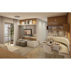 Ambientes integrados   Sala de estar com puffs no painel de TV e canto alemão na sala de jantar. Inspire-se!