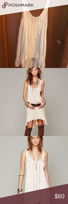 Free People Dress Cream Free People Parisian high-low prairie dress in size small Free People Dresses High Low