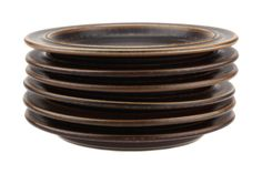 Arabia of Finland Ruska Side or Bread and Butter Plate Set 6x.. Designed by Ulla Procope.. Brown Retro Mid Century.. Made in Finland..