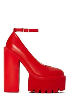 Jeffrey Campbell Scully 2 Platform - Red at Nasty Gal Ugly Shoes, Red Shoes, Sock Shoes, Shoes Heels Boots, Heeled Boots, High Heel Sneakers, High Heels, Stilettos, Red Platform Shoes