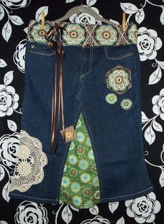 Classic  Retro Hippie Jean Skirt w/ handmade by CustomJeanSkirts, $50.00 saw this & thought of u @Natasha Wright