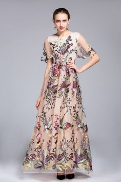 f8a52b99f8 Price tracker and history of 2016 Autummn Women Long dress Organza Silk  Embroidery Short sleeve Casual Elegant Noble Celebrity Party Maxi Long  Vestidos Robe