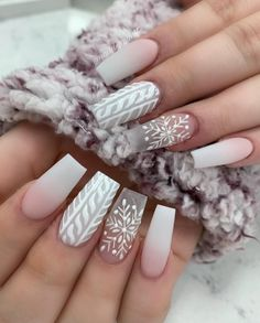The winter season is a period in which the nail polish fashion is quite different. Winter nail polish models can be more attractive than other seasons . Beautiful Nail Designs, Cute Nail Designs, Acrylic Nail Designs, Art Designs, Cute Christmas Nails, Xmas Nails, Maroon Nail Designs, Clear Acrylic Nails, Snowflake Nails