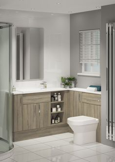 This beautiful, rich woodgrain is such an elegant choice for creating a stylish, warm and luxurious bathroom. The grey tones which run through the woodgrain make it so easy to accessorise with contemporary room colours. Oak Bathroom, Master Bathrooms, Family Bathroom, Bathroom Interior, Bathroom Ideas, Small Toilet Room, Small Bathroom Colors, Shower Rooms, Kitchen Cabinet Design