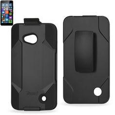 Reiko Silicone Case+Protector Cover Nokia Lumia 640 Lte/ Microsoft Lumia 640-Rm-1109 Black Holster With Clip Black