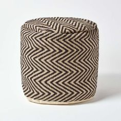 jute herringbone pattern circular footstool from Homescapes, filled with polystyrene beans and double lined to ensure it maintains its structure and shape. A contemporary style chevron pattern which will complement most room decors, Homescapes tall, Mid Century Living Room, Double Duvet, Chevron Patterns, Pouf Ottoman, Modern Retro, Herringbone Pattern, Cushion Pads, Occasional Chairs, Bean Bag