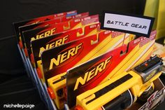 """More direct link to the Nerf Gun Party idea, already thinking of ways to make this more for """"grown ups"""". Nerf Birthday Party, 8th Birthday, Birthday Ideas, Kids Party Themes, Party Ideas, Nerd Party, Nerf War, Star Wars Party, My Guy"""