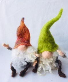 Gnome or Tomte Needle Felt Kit - makes 2 naughty gnomes Needle Felting Kits, Needle Felted Animals, Felt Animals, Felt Christmas Ornaments, Christmas Things, Gnomes, Wool Felt, Arts And Crafts, Crafty