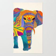 Whimsical Elephant Area Throw Rug