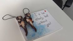 Matching Valentine sea otter charms Sea Otters Holding Hands, Significant Otter, Fun Cards, Clay Crafts, Polymer Clay, Charms, Hand Painted, Handmade, Gifts